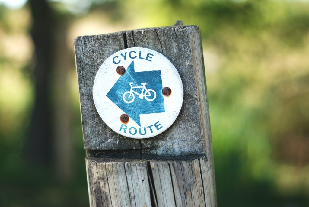 Post with Cycle Route sign.