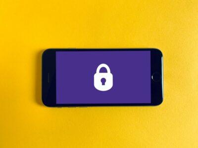 Phone with padlock on screen