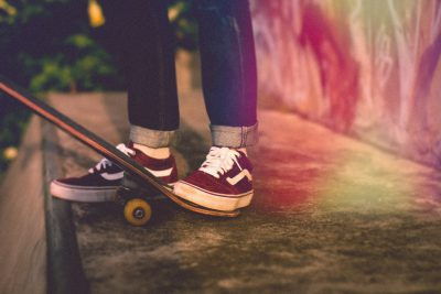 Shoes on skateboard